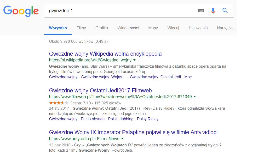 Wyszukiwanie niekompletnych fraz