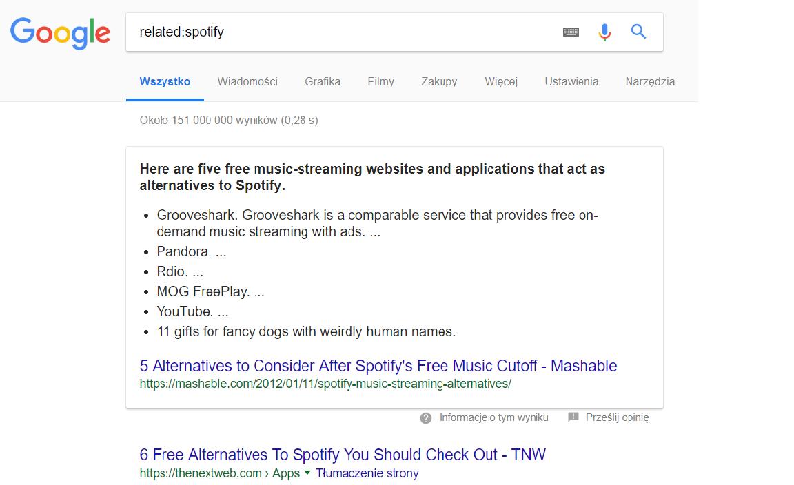 Wyszukiwanie podobnych stron