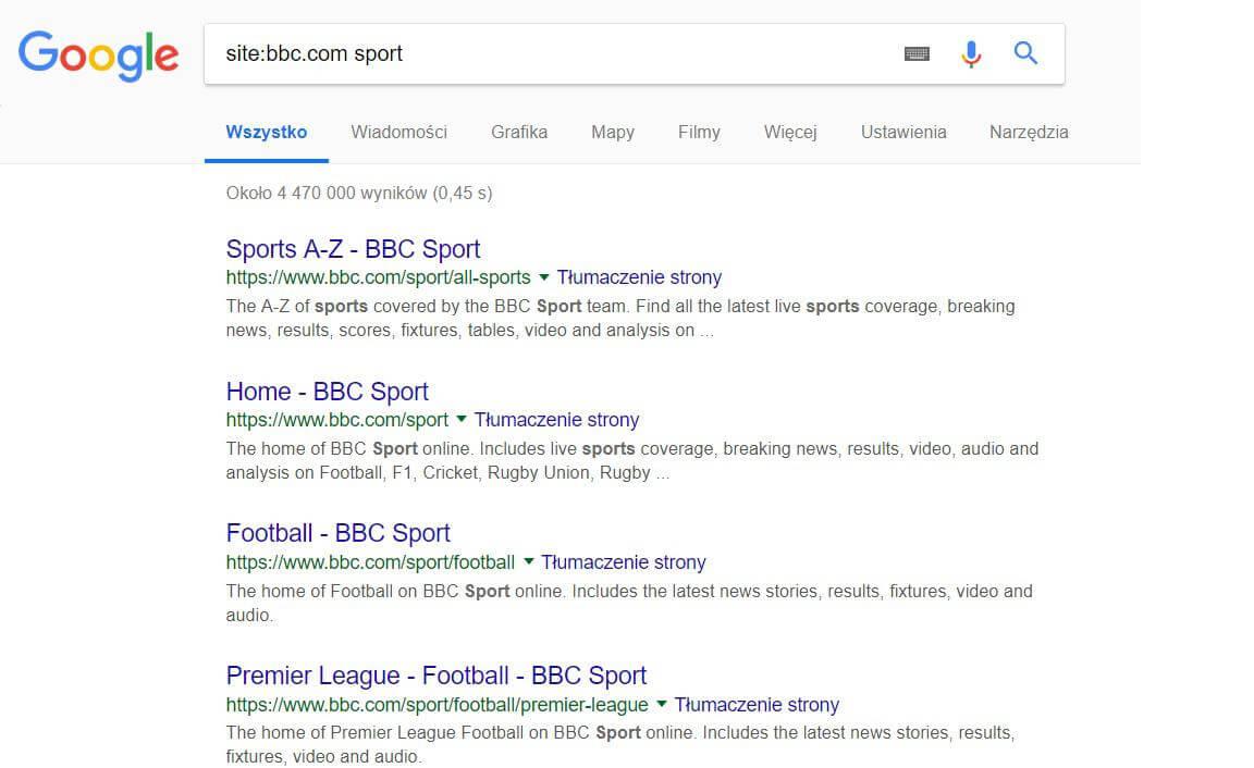 Wyszukiwanie w danej witrynie